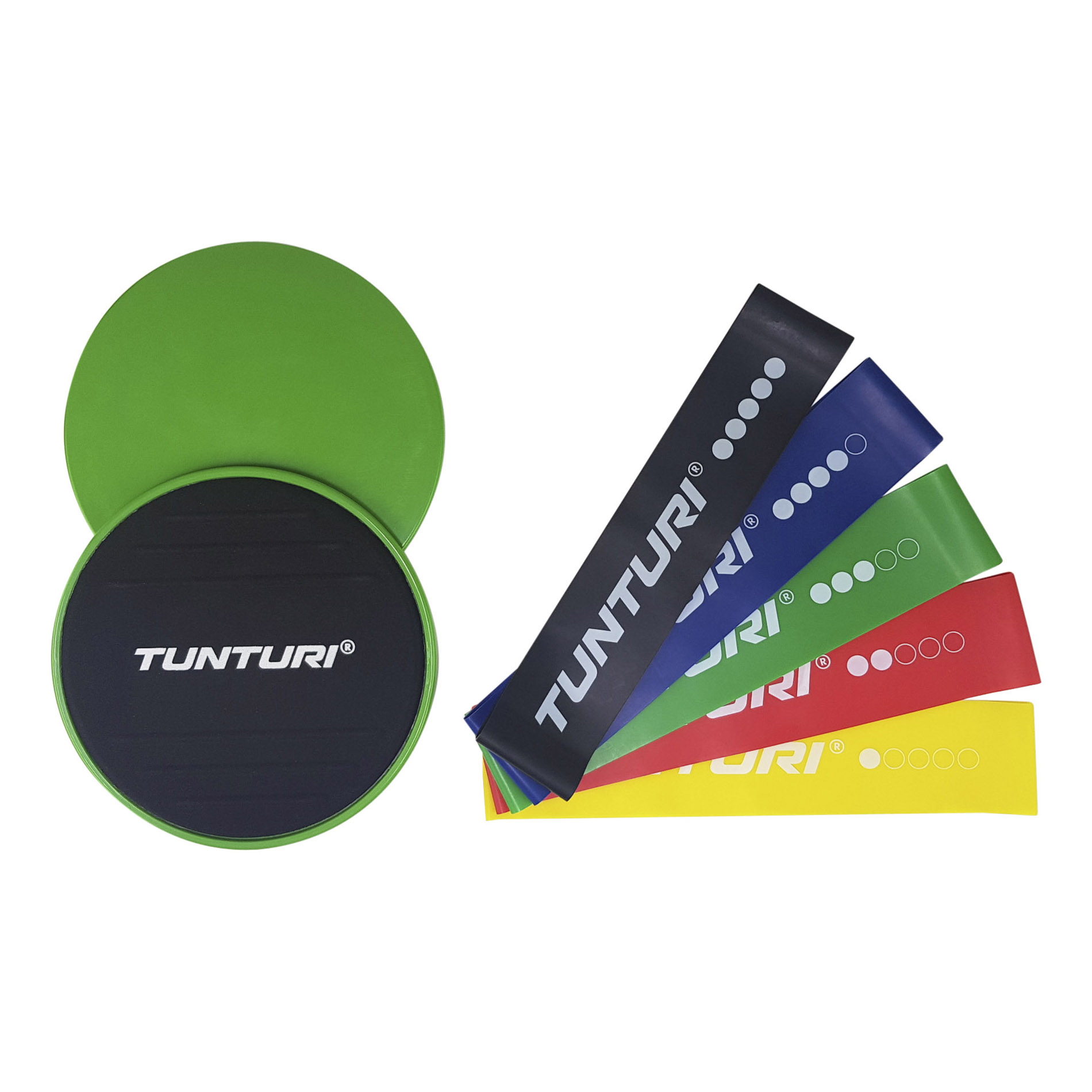 Set pro posílení středu těla TUNTURI Resistance & Core Sliders Set