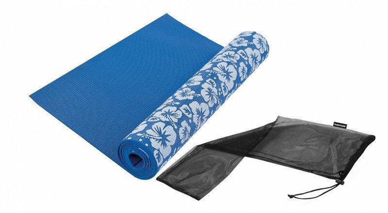 Jóga podložka s potiskem TUNTURI modrá 173 x 61 tl.3 mm